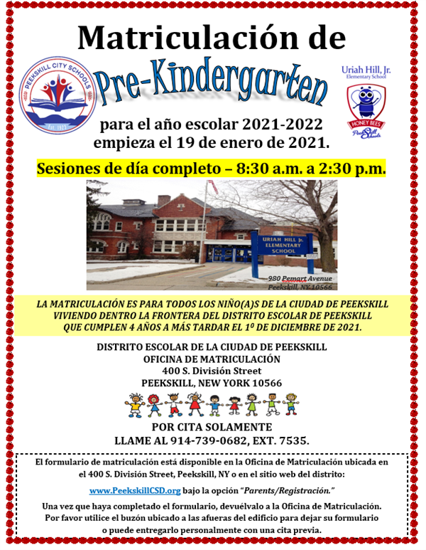Pre K registration Flyer Spanish