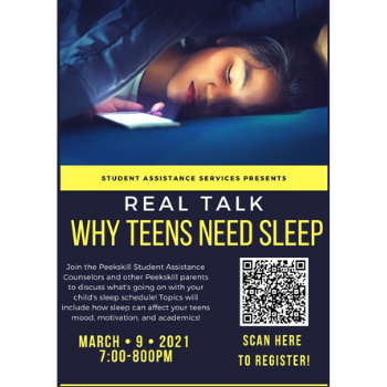 Student Assistance Counselor Parent Sleep Presentation on March 9