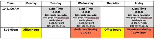 Class Time and Office Hours Schedule